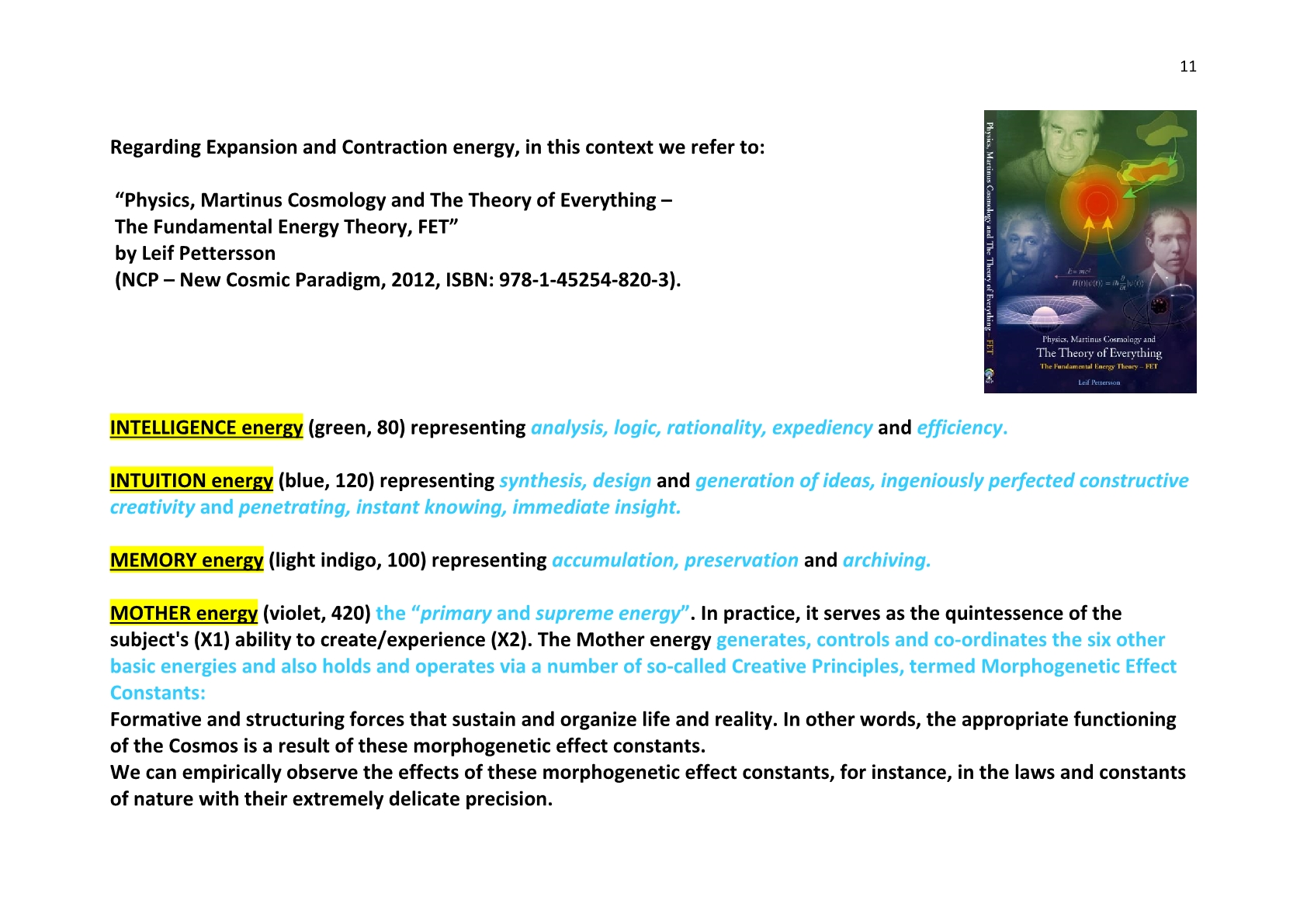 TSC 2014 11 The Qualitative basic Energies - NCP X-AIONS