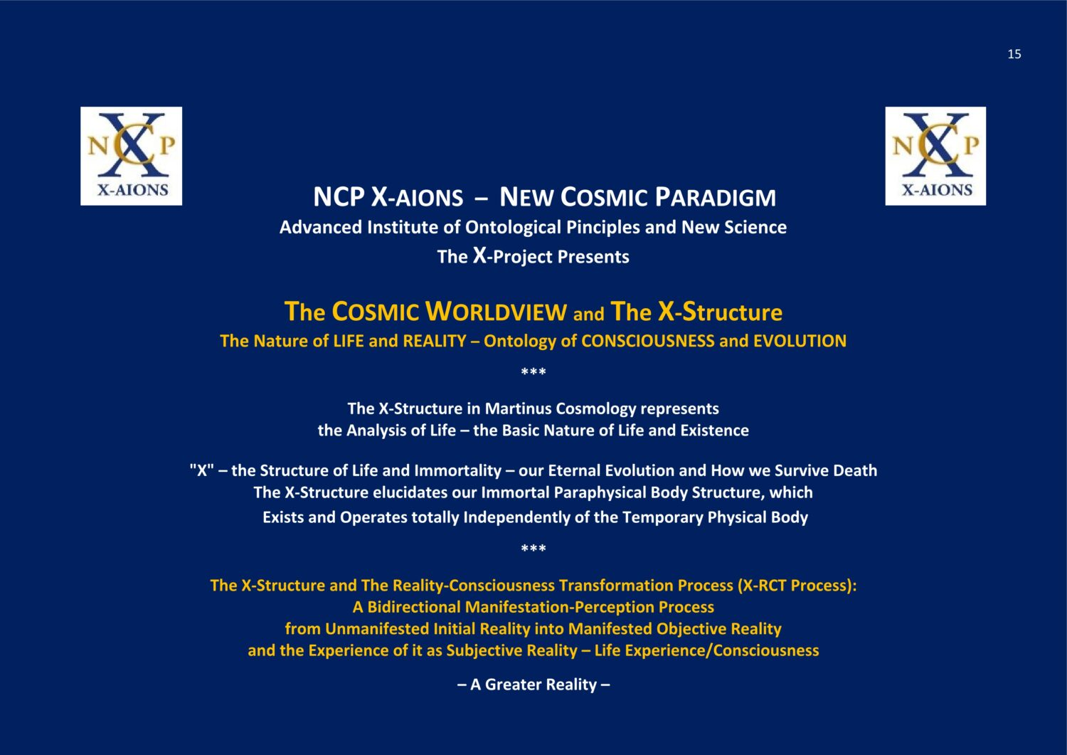 NCP X-AIONS The Cosmic Worldview Consciousness and Evolution