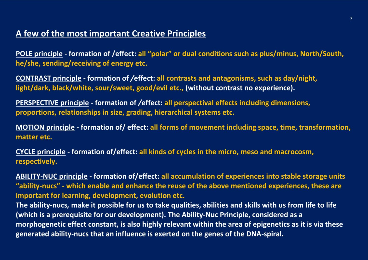 Cosmic Creative Principles NCP X-AIONS