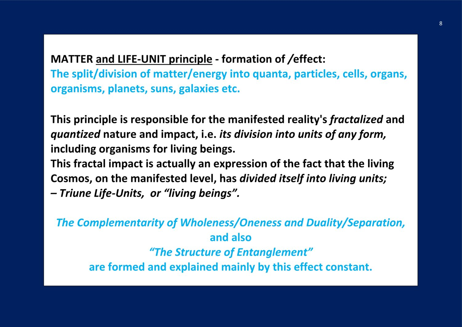 Matter and life-unit principle NCP X-AIONS