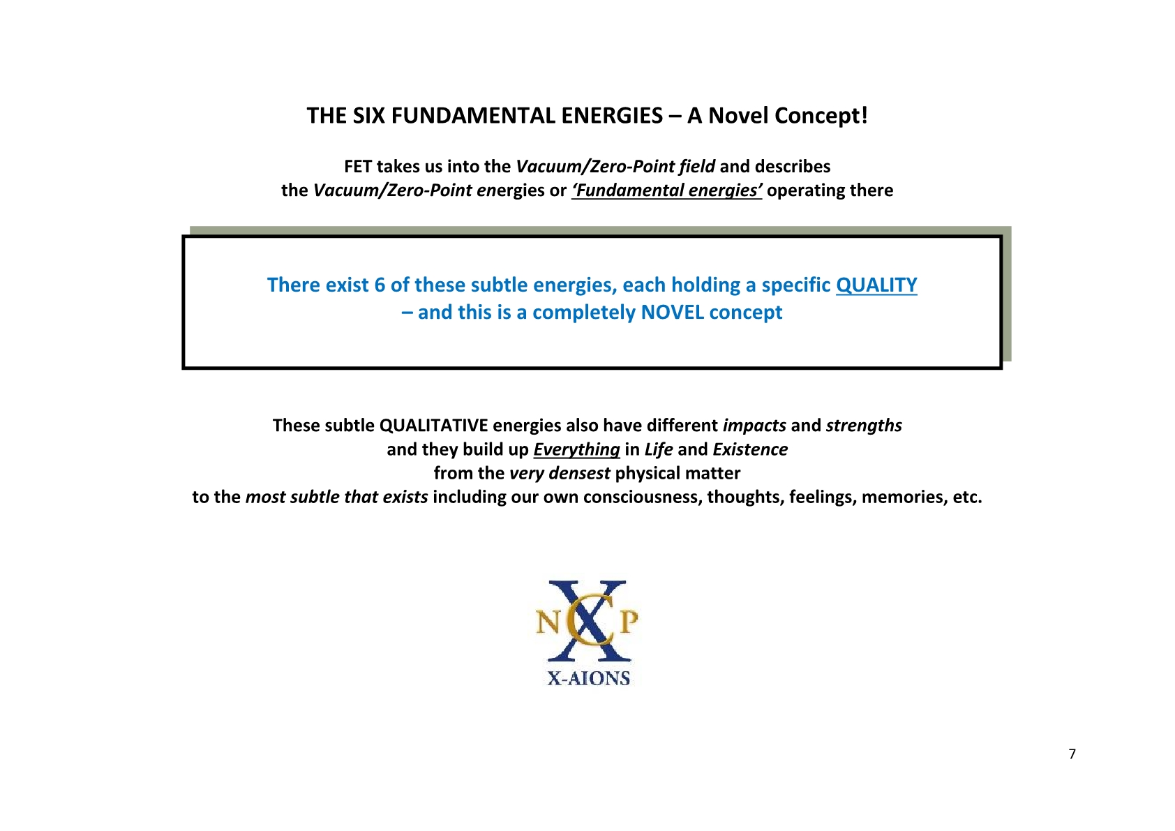 TSC 2012 Fundamental Energy Theory FET NCP X-AIONS