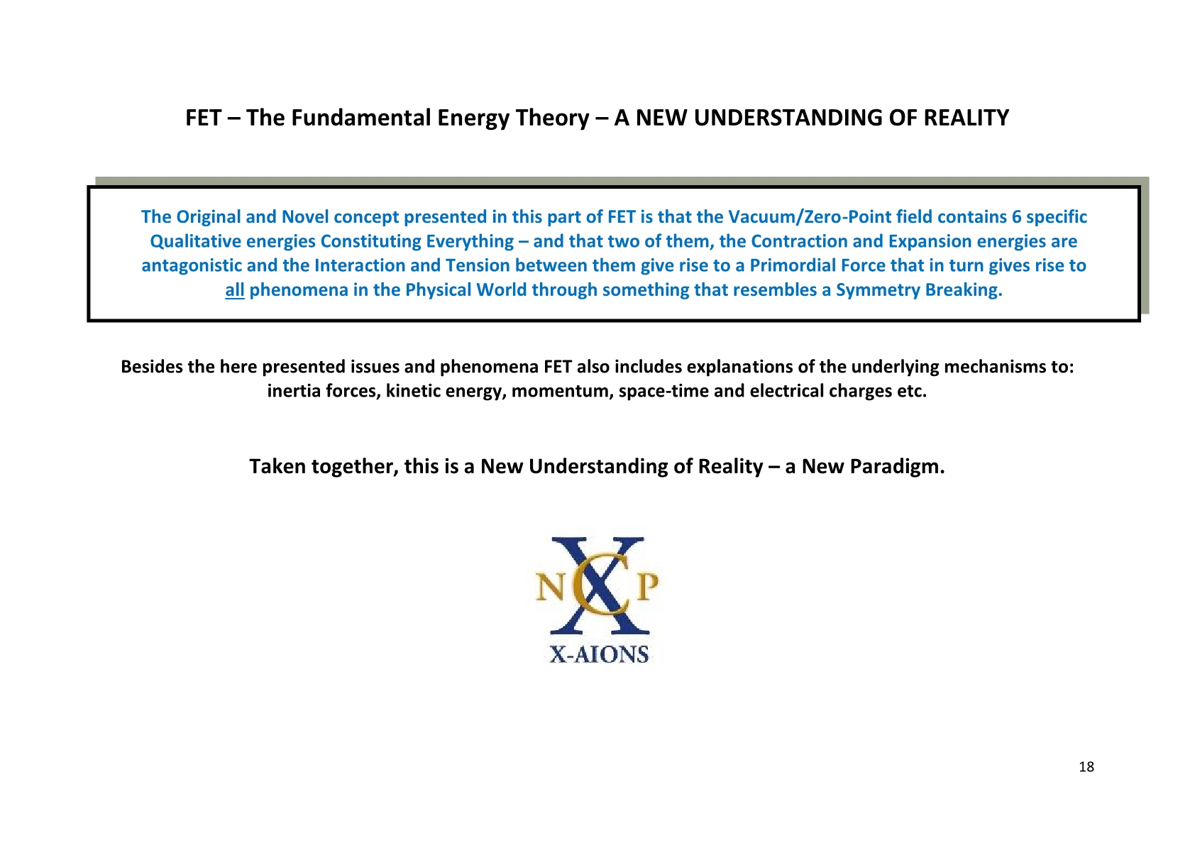 TSC 2012 FET- The Fundermental Energy Theory, NCP X-AIONS