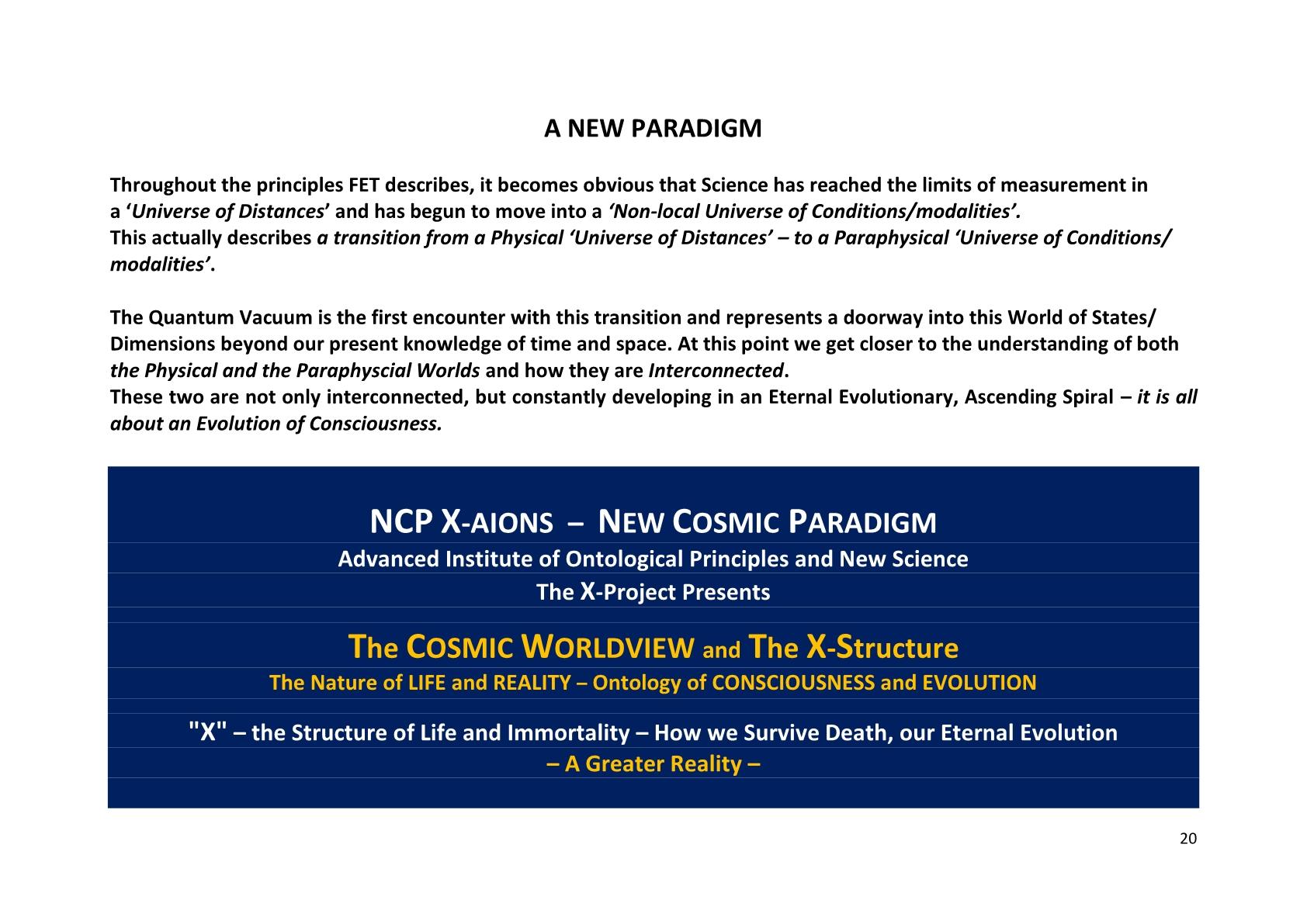 TSC 2012 A New Paradigm, NCP X-AIONS