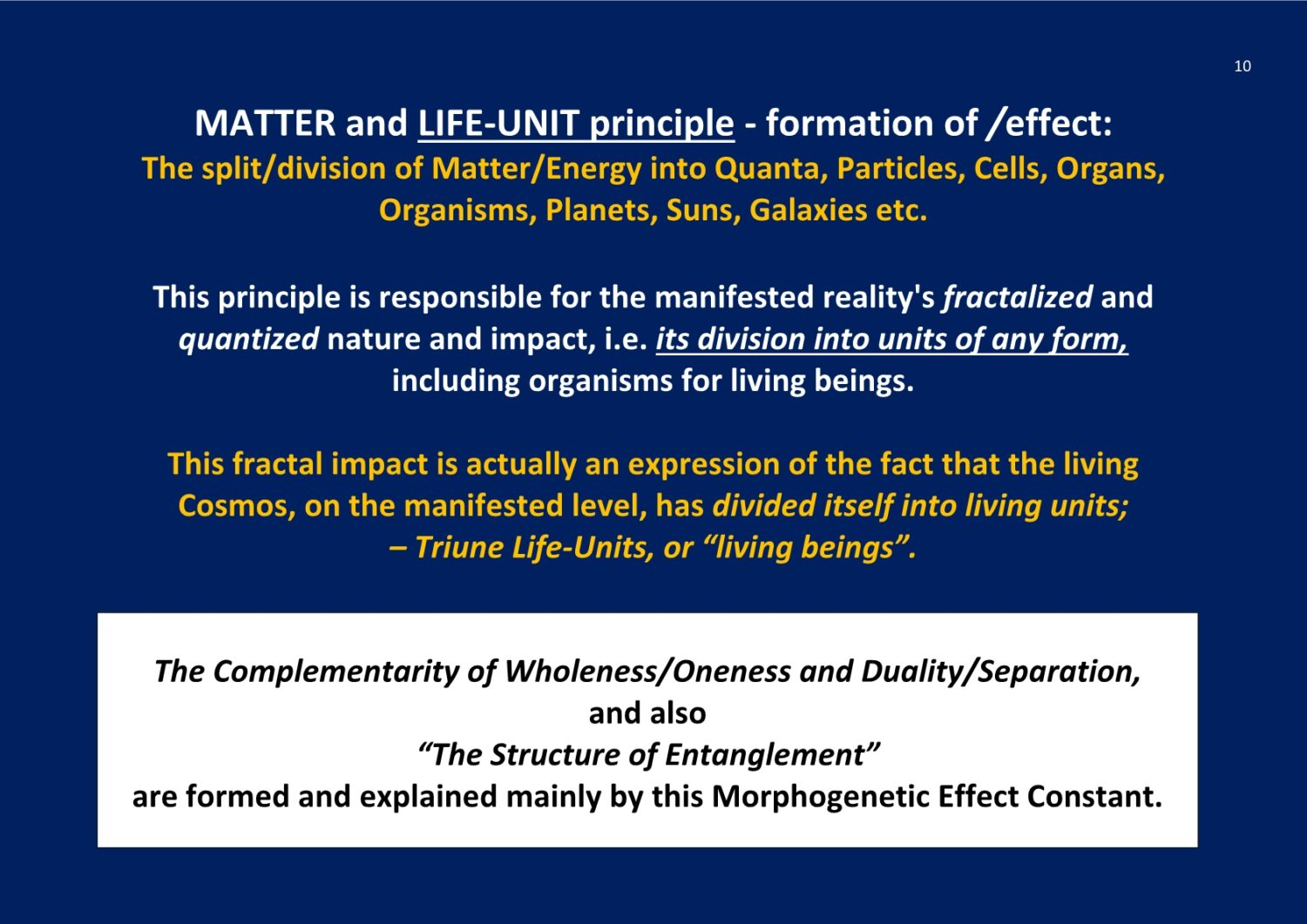 Matter- and Life-Unit Principle X-Structure NCP X-AIONS