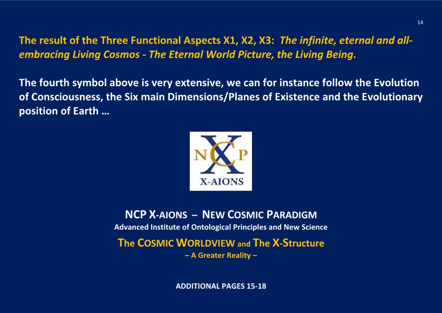 X-Structure The Cosmic Worldview NCP X-AIONS TSC 2016