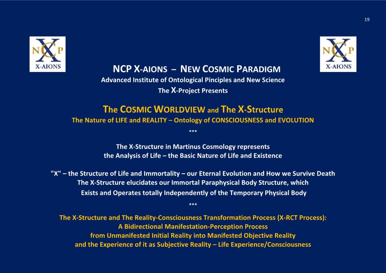 New Cosmic Paradigm NCP X-AIONS TSC 2016