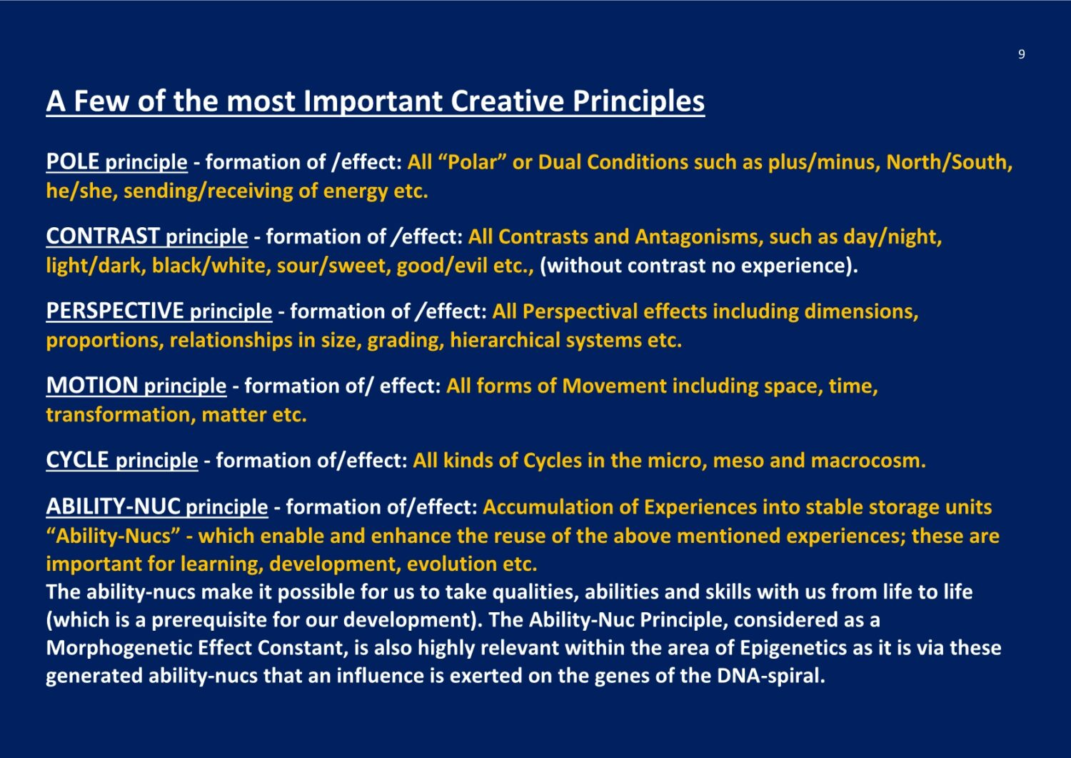 Cosmic Creative Principles The X-Structure NCP X-AIONS