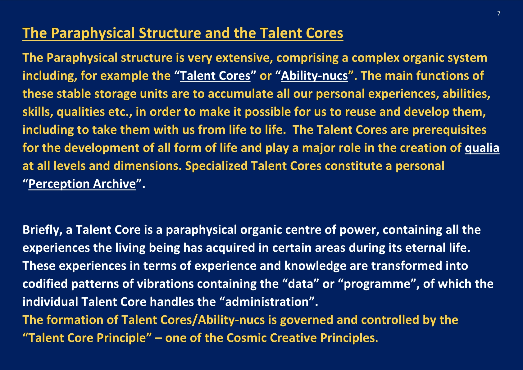 Paraphysical Structure and Talent Cores; NCP X-AIONS