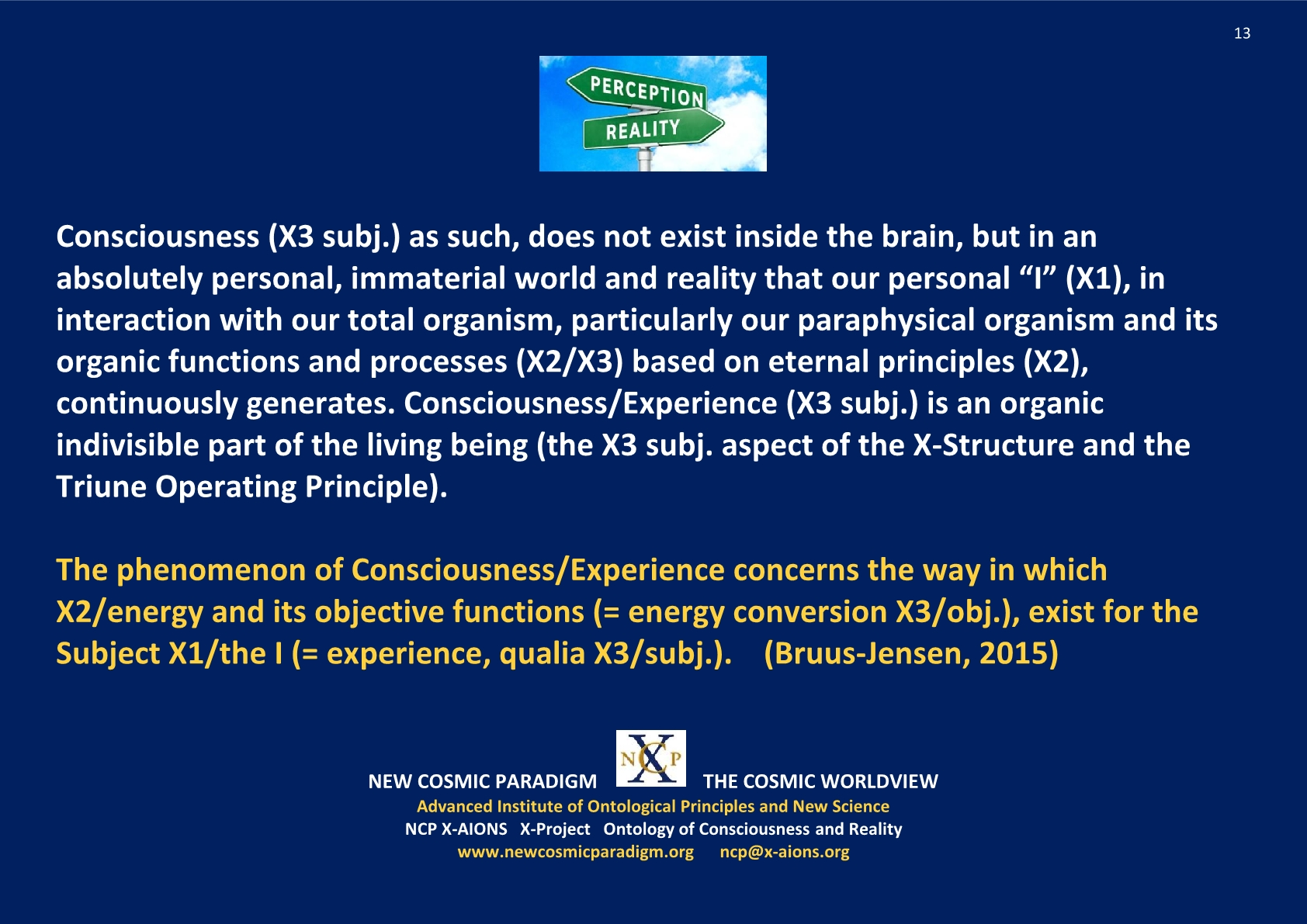 Life-Experience, paraphysical organism, The I; NCP X-AIONS